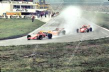 MARCH 722 - Lauda & Ronnie Peterson lead Gethin (Chevron). Hockenheim F2 1972.  Action photo